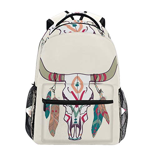 (CANCAKA Texas Longhorn Steer Cow Skull Ethnic Style Aztec Colorful Feathers Hanging Horns Lightweight School Backpack Students College Bag Travel Hiking Camping Bags)