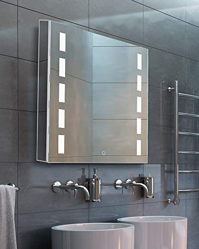 """Bathroom Medicine Cabinet, Aluminum, Recessed/Surface Mount, 24"""" x 30"""", Left Hand Hinged, Mirrored w/LED"""