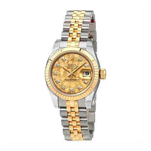 Rolex Oyster Perpetual Lady Datejust Gold Crystal Dial Automatic Ladies Stainless Steel and 18K Yellow Gold Watch 179173GCDJ