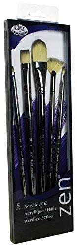 Royal & Langnickel Zen 5 Piece Long Handle Acrylic & Oil Filbert Variety Paint Brush Set by Royal & Langnickel