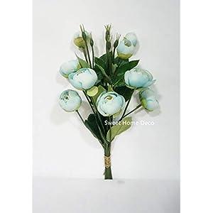 Sweet Home Deco 13'' Silk Ranunculus, Artificial Flower Bunch, Spring Flowers, Wedding/Home Decorations, Set of 2, 88