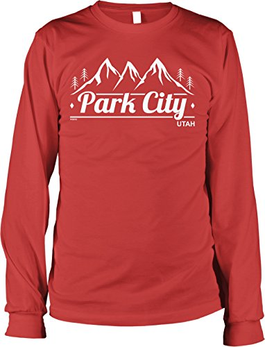 Hoodteez Park City, Utah Men's Long Sleeve Shirt, XL Red
