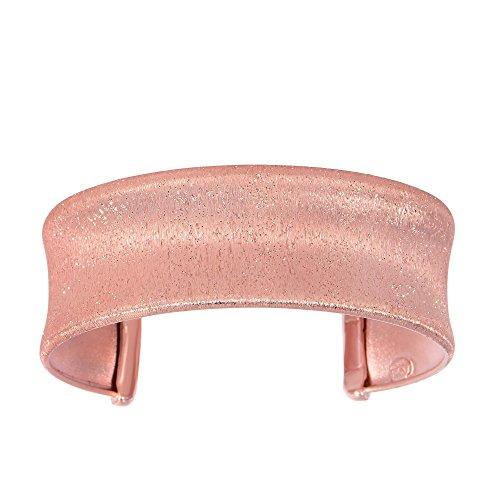 Sterling Silver Pink-rose Sparkle Glitter Bangle Bracelet by Diamond Sphere