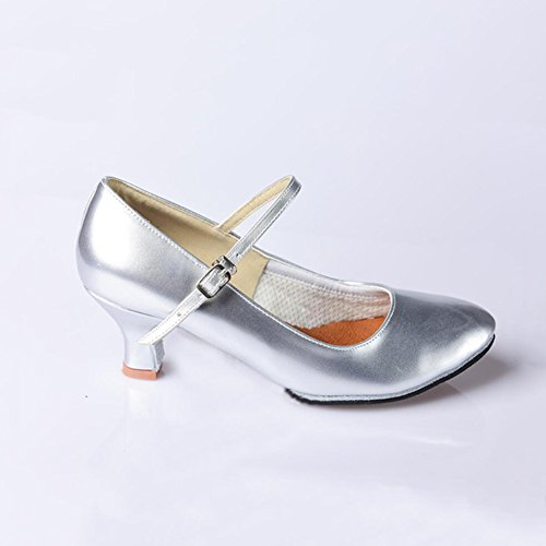 XUE Women's Latin Shoes Modern Shoes/Ballroom Shoes/Summer/Synthetic/Sparkling Glitter High Heel Indoor/Practice/Beginner Buckle/Party & Evening Silver, Gold (Color : B, Size : 40) B