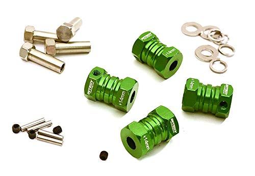Integy RC Model Hop-ups C27013GREEN 12mm Hex Wheel (4) Hub +14mm Offset for 1/10 Scale Truck & Buggy