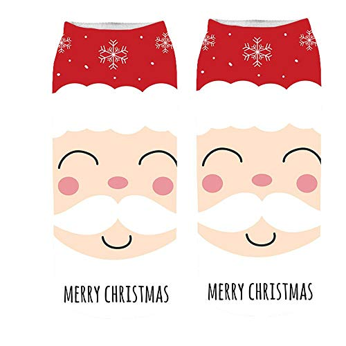 Pumsun Women's 3D Cartoon Funny Christmas Crazy Cute Amazing Novelty Print Ankle Socks (B)