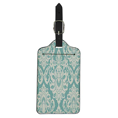 Semtomn Luggage Tag Teal Pattern Damask Center Piece Individual for Baroque Lace Suitcase Baggage Label Travel Tag Labels ()