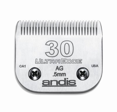 Edged High Carbon (Andis Carbon-Infused Steel UltraEdge Dog Clipper Blade, Size-30, 1/50-Inch Cut Length (64075))