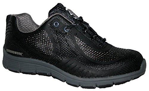 Groundwork Herren Ultraleicht-Leichtathletik Laufschuhe mit Stahlkappe für mehr Sicherheit, Schnürschuh Schwarz / Grau