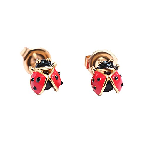 - JUICY GRAPE Ladies Exquisite Cloisonné Handmade Enamel Cute Ladybug.925 Sterling Silver Stud for Women, Vintage Real Gold, Bred
