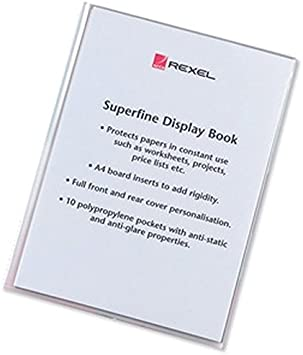 Rexel A4 Superfine Display Book Clear 10 Pockets