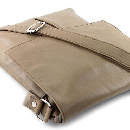 modamoda cuir épaule sac T75 grande sac de ital Messenger Beigegrau en dames rq8w1r4A