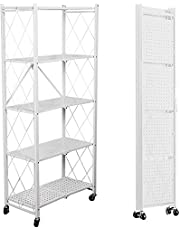 3/4/5-Tier Foldable Storage Shelves, Stand Folding Metal Shelf with Caster Wheels Heavy Duty Shelving Unit Floor-standing for Garage Kitchen Home Closet Office , No Assembly Needed