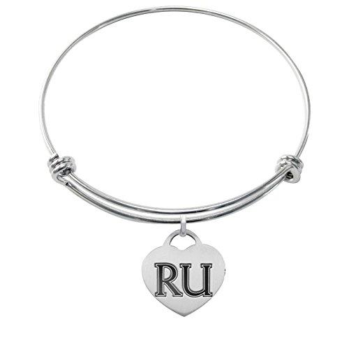 Radford University Highlanders Stainless Steel Adjustable Bangle Bracelet with Heart Charm