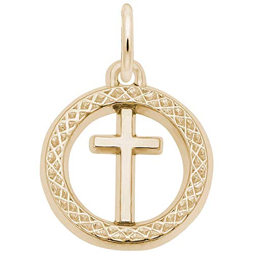 Rembrandt Charms Cross Charm, Gold Plated Silver