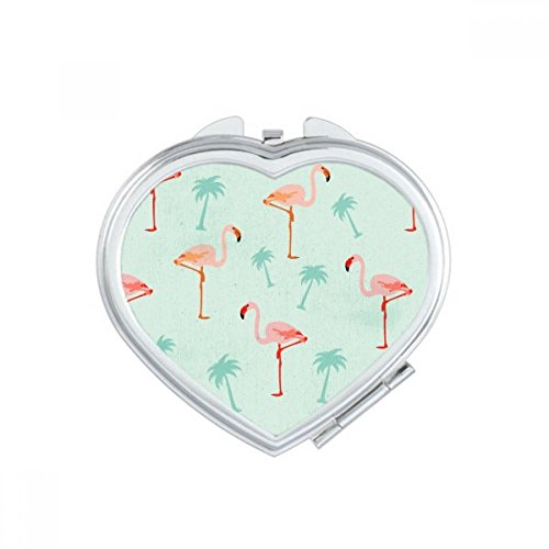 DIYthinker Flamingo Pattern Pink Animal Heart Compact Makeup Mirror Portable Cute Hand Pocket Mirrors Gift by DIYthinker