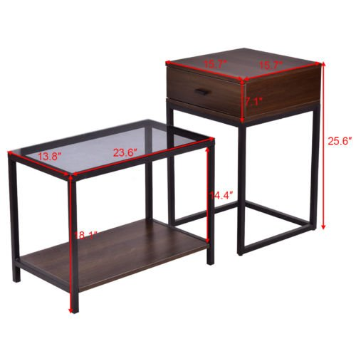 Nesting Table Coffee Table Side Table End Table Metal Frame Wood Glass Top 2PCS by White Bear & Brown Rabbit (Image #3)