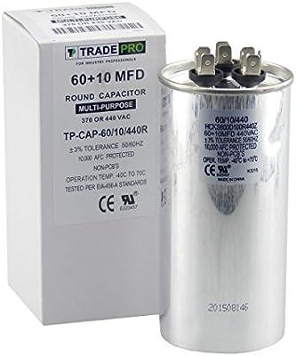 60 + 10 mfd Dual condensador, repuesto de grado industrial para ...