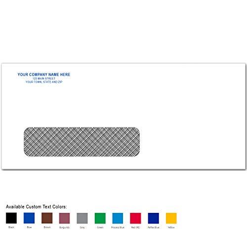 CheckSimple No. 10 Custom Printed White Envelopes - Confidential Security Tint, Single Window (1000 Envelopes)