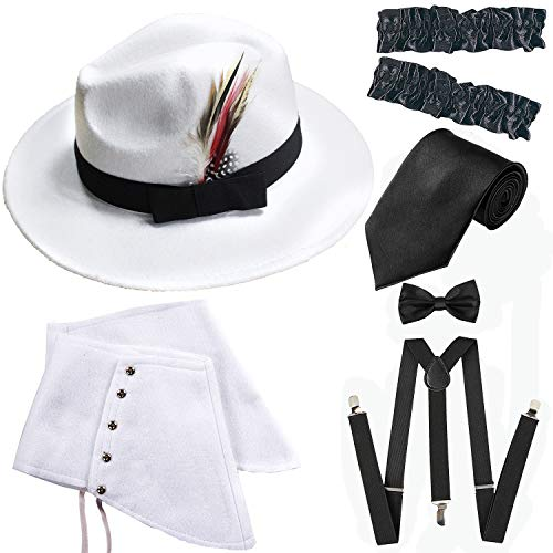 1920s Trilby Manhattan Fedora Hat, Gangster Spats/Armbands,Suspenders Y-Back Trouser Braces,Pre Tied Bow Tie,Tie (OneSize, White-Black) -