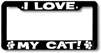 I Love My CAT paw print License Plate Frame