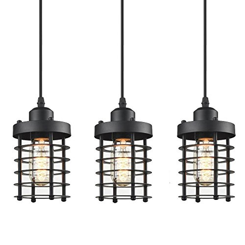- WINSOON 3 Pack Pendant Light Fixture Mini Rustic Metal Cage Hanging Lighting (Black, 3Pack)