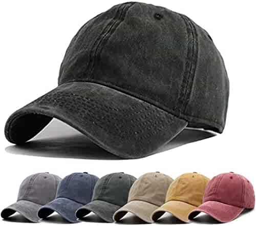 23255f9c13bc4 Unisex Vintage Washed Distressed Baseball-Cap Twill Adjustable Dad-Hat