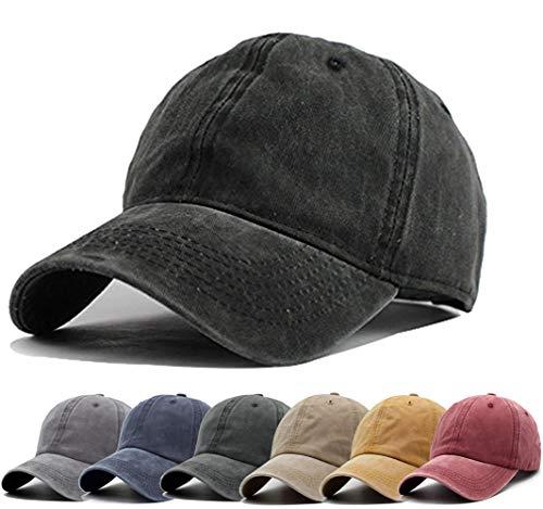 Unisex Vintage Washed Distressed Baseball Cap Twill Adjustable Dad Hat,G-black,One -