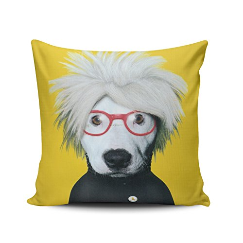(KEIBIKE Personalized Yellow Funky Dog Pop Art Artist Square Decorative Pillowcases Funny Zippered Throw Pillow Covers Cases 18x18 Inches One Sided )