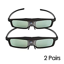 2 Pack SainSonic Rainbow Series Black 144 Hz 3D Active Rechargeable Shutter Glasses for Mitsubishi, Samsung, Acer, BenQ, Optoma, Dell, Vivitek, NEC, Sharp, ViewSonic DLP-Link Projector and 3D Ready DLP HDTV
