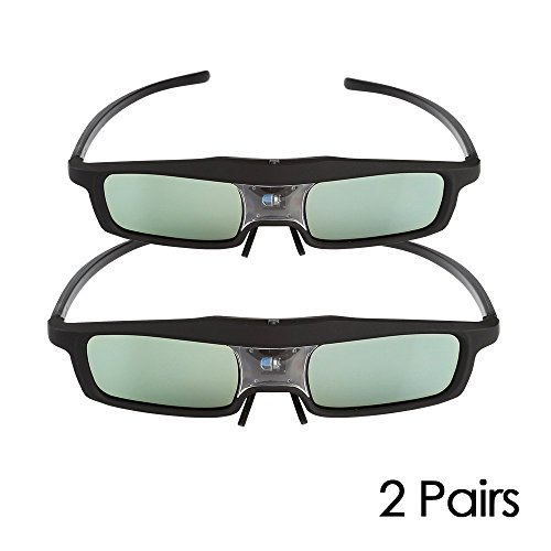 2 Pack of SainSonic CX-30 144Hz 3D Rechargeable IR Active Shutter Glasses for DLP-Link Projector & TV- BenQ, Optoma, Dell, Mitsubishi, Samsung, Acer, Vivitek, NEC, Sharp, ViewSonic etc