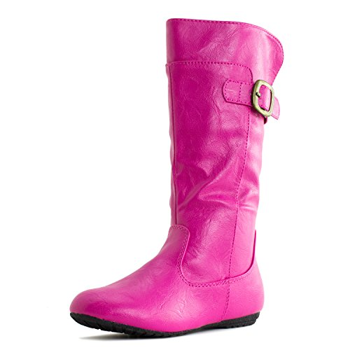 Generation19 Girls Faux Leather Zipper/Buckle Mid Calf Boots,