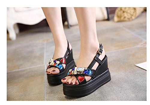 PBXP 5 cm Piattaforma Wedge 10.5 cm Heel Colorful Strass Decorazioni Sling-back Cinture Fibbia Outsoles antiscivolo Sandali Donna Elegante , black , 39