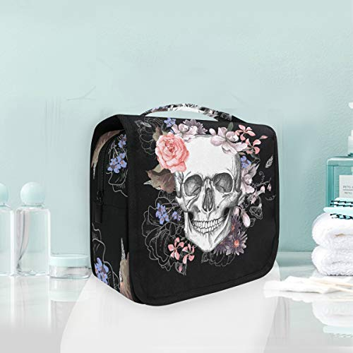 Travel Toiletry Cosmetic Bag Flower Halloween Sugar Skull Hanging Shower Makeup Bag Pouch Portable Train Tote Case Organizer Storage For Women Girls ()