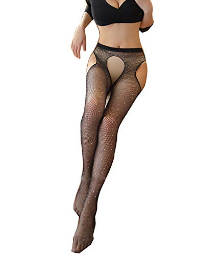 Womens Fishnet Tights Suspender Pantyhose Stretchy Sheer Seamless Thigh-High Stockings(Black A,One Size)