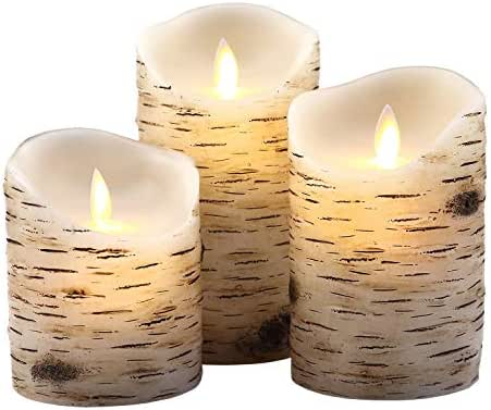 Aku Tonpa Birch Bark Effect Flameless Candles Battery Operated Pillar Real Wax Flickering Moving Wick Electric LED Candle Sets with Remote Control Cycling 24 Hours Timer, 4