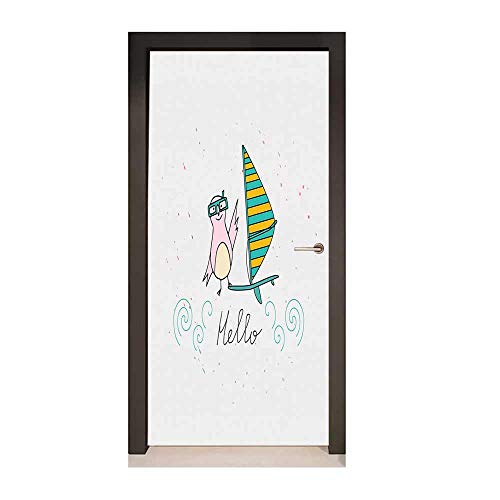 Hello 3D Door Wallpaper Summer Inspiration with Hand Drawn Bird and Windsurf Board Cartoon Style Environmental Waterproof Mint Green Yellow Pink,W23.6xH78.7