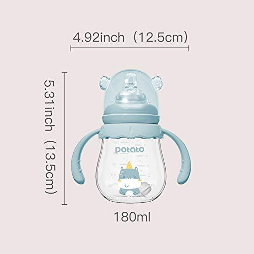POTATO Glass Bottles Baby Feeding Bottles Anti-Colic Silicone Nipples Toddler Bottles Baby Bottles, Blue, 180ML