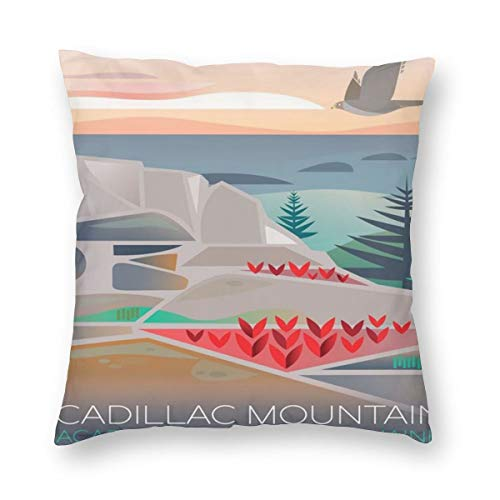 (Cadillac Mountain Acadia National Park Poster Throw Pillow Home Decor Couch Cushion Case Custom Pillow Covers Pillowslip Cushion Cases with Zipper Decorative Accent Pillow Case)