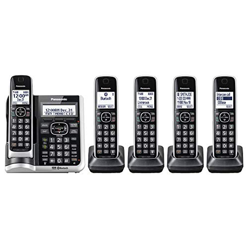 Panasonic Link2Cell Bluetooth Cordless Phone System with HD Audio, Voice Assistant, Smart Call Bloking and Answering Machine . DECT 6.0 Expandable Cordless System -5 Handsets- KX-TGF675S (Silver)