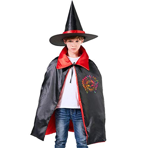 Wodehous Adonis Neon Aztec Skull Kids Halloween Costume Cape Witches Cloak Wizard Hat Set -