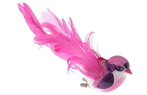 Oiseau d/écoratif avec clip fuchsia 12 x 3,8 cm-lot de 2 d/écorations de table et d/écorer