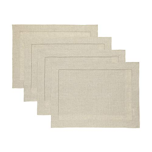 (Solino Home Hemstitch Linen Placemats - Natural Set of 4, 14 x 19 Inch 100% European Flax Natural Fabric - Machine Washable Placemats - Handcrafted with Classic Hemstitch & Mitered Corners)
