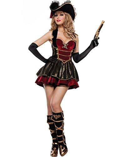 [Aifang Women's Halloween Costume Sexy Swashbuckler Pirate Buccaneer Costume Cosplay Style 1] (Sexy Swashbuckler Adult Womens Plus Size Costumes)