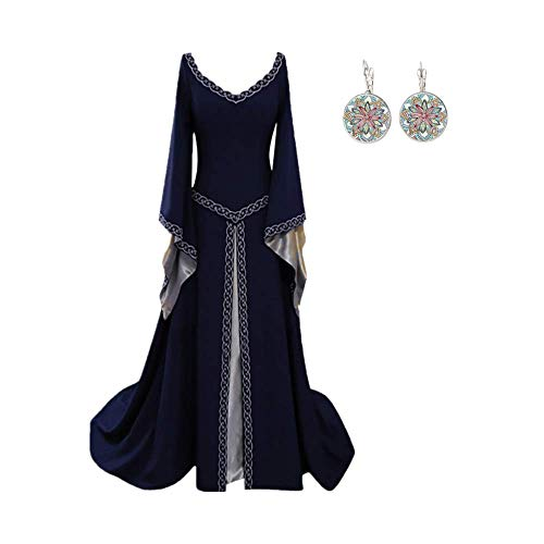 CCOOfhhc Vintage Dress-Women's Renaissance Medieval Dress Trumpet Sleeves Gothic Retro Gown Cosplay Halloween Costume for Women ()