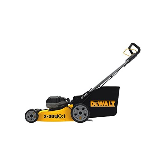Dewalt 20v max lawn mower, 3-in-1, 2 batteries (dcmw220p2) 2 push mower comes with powerful brushless motor and (2) 20v max* batteries working simultaneously for high power output. 3-in-1 push lawn mower for mulching, bagging and side discharging battery lawn mower has heavy-duty 20-inch metal deck