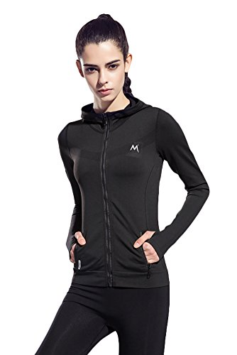 [Women's Stretchy Workout Dri-Fit Hooded Jacket ( black, m)] (Athletic Works Jacket)