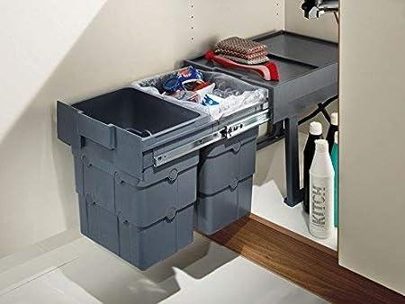 3 cubos de 16 + 7 + 7 litros, capacidad total 32 litros, extraíbles, para armarios de cocina, de Ninka Wasteboy, plástico, Gris, 2 Containers