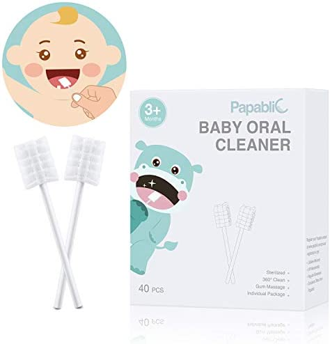[40-Pack] Papablic Baby Tongue Cleaner, Upgrade Gum Cleaner with Paper Handle for Babies and Infants Ages 0-2 Years