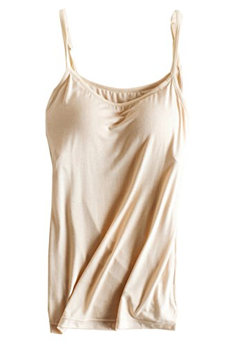 PinkWind Women's Bra Padded Cami Tank Adjustable Camisole Basic Tanks Tops Khaki